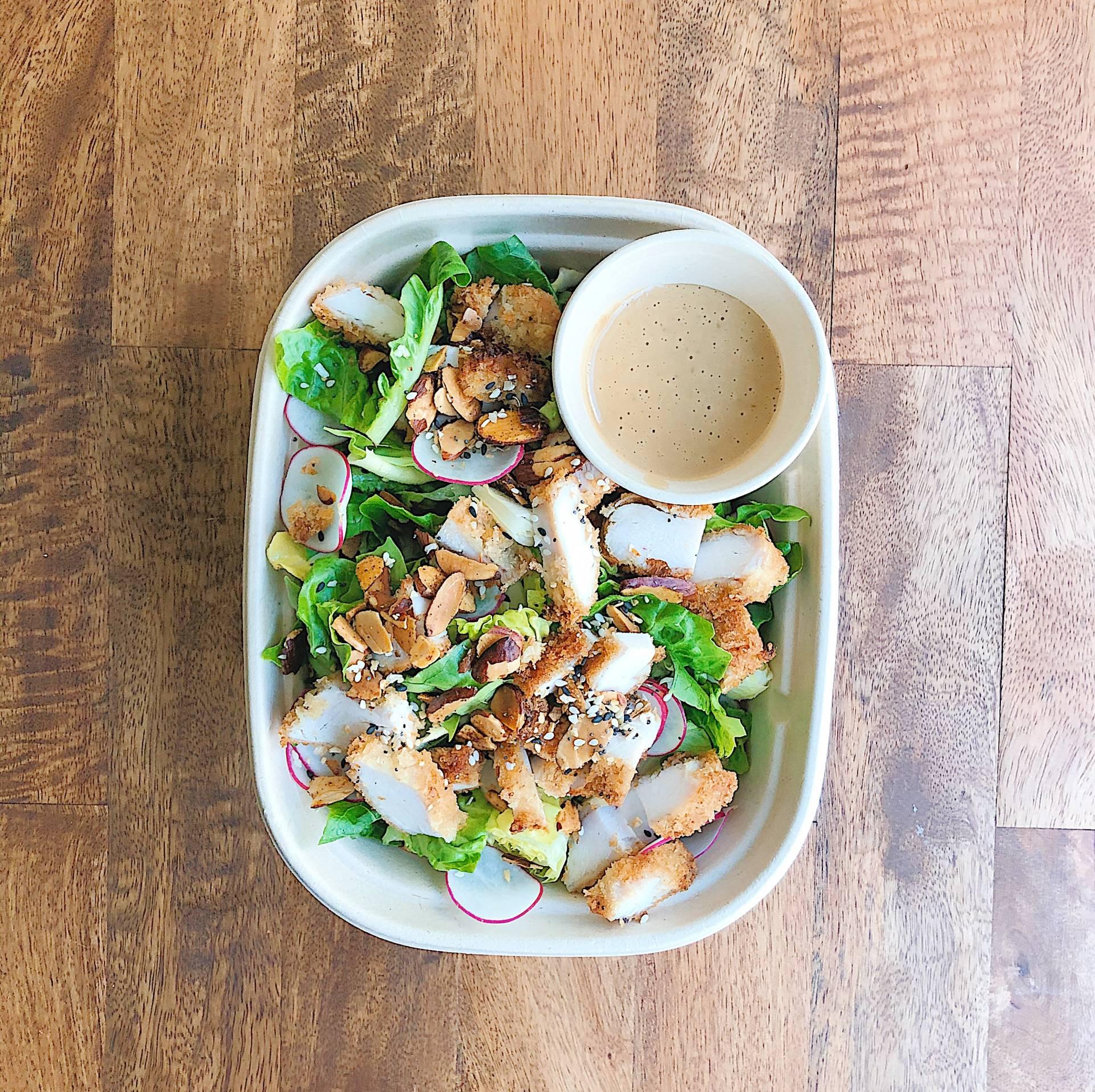 Chinese Chicken Salad, little gems, radish, scallions, almonds, wontons