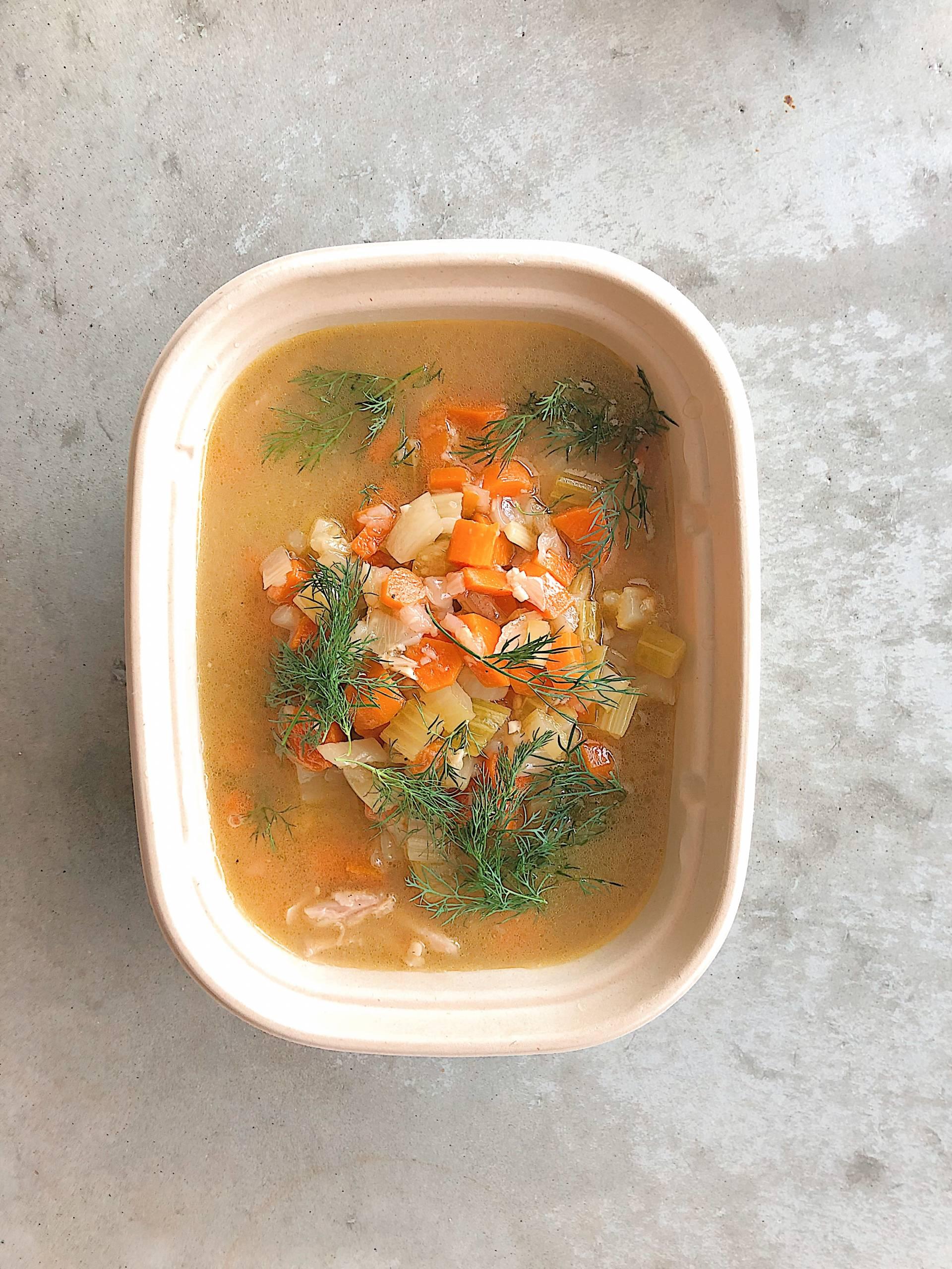 Chicken Matzo Ball Soup, onions, carrots, celery